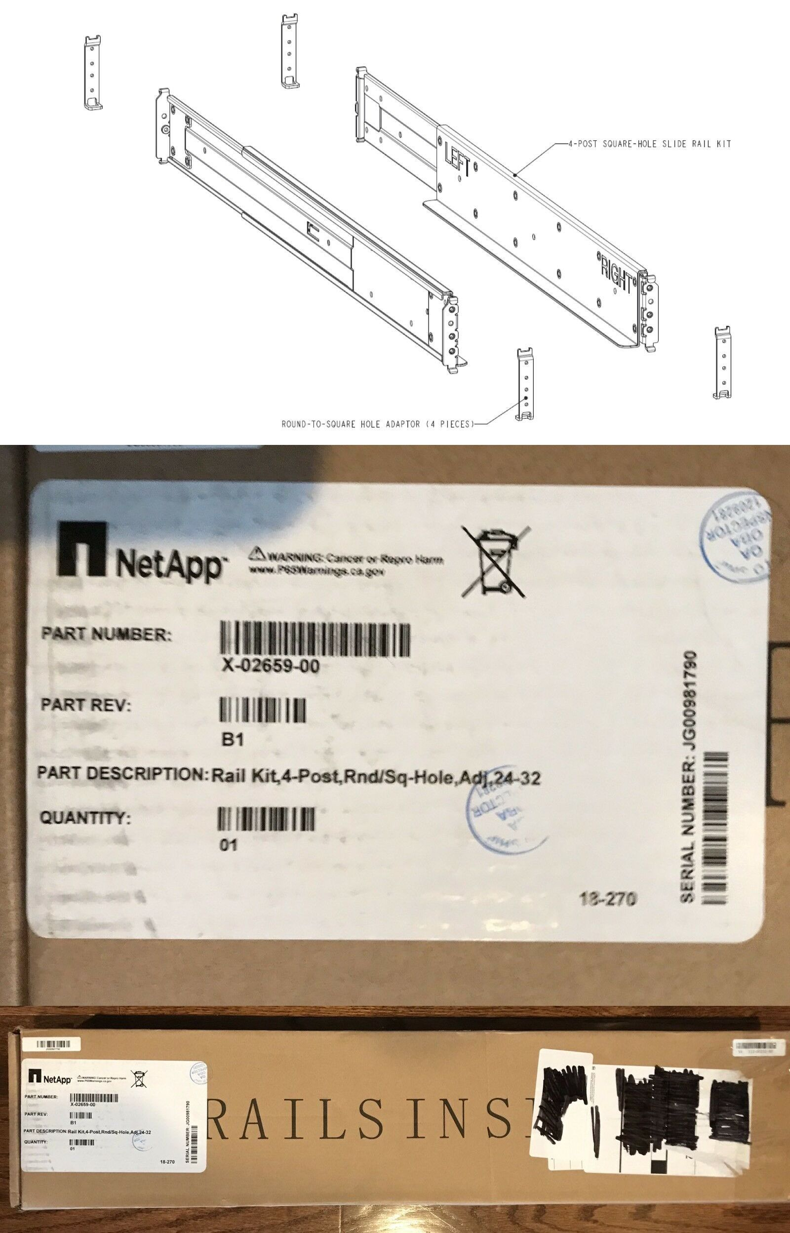 hight resolution of disk array components 58322 netapp x 02659 00 rail kit 4 post square or round hole 24 32 rail buy it now only 35 on ebay array components netapp