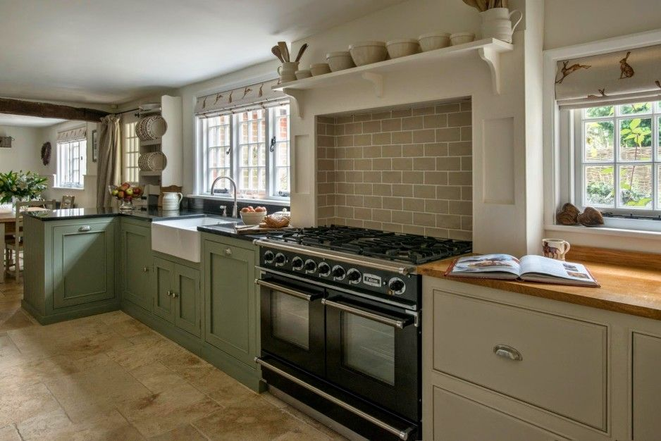 dark modern country kitchen. Kitchen  Country Design With L Shaped Dark Sea Green Finish Cherry Wood Shaker Cabinets