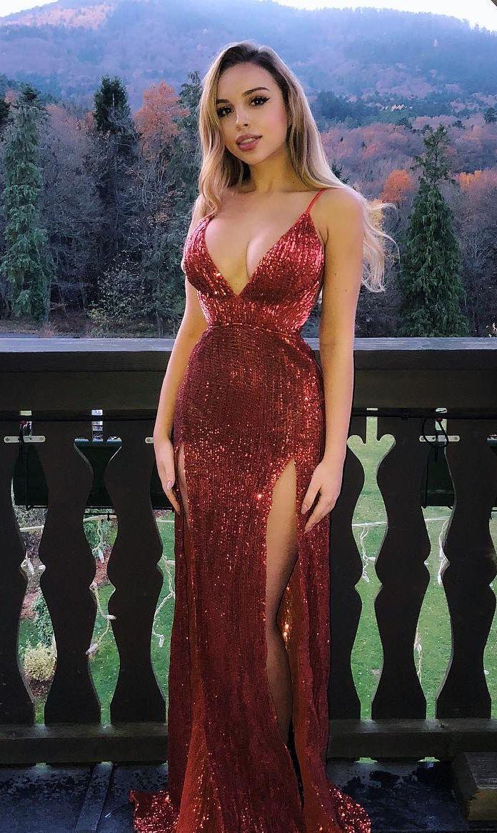 Mermaid spaghetti straps floorlength dark red sequined prom dress