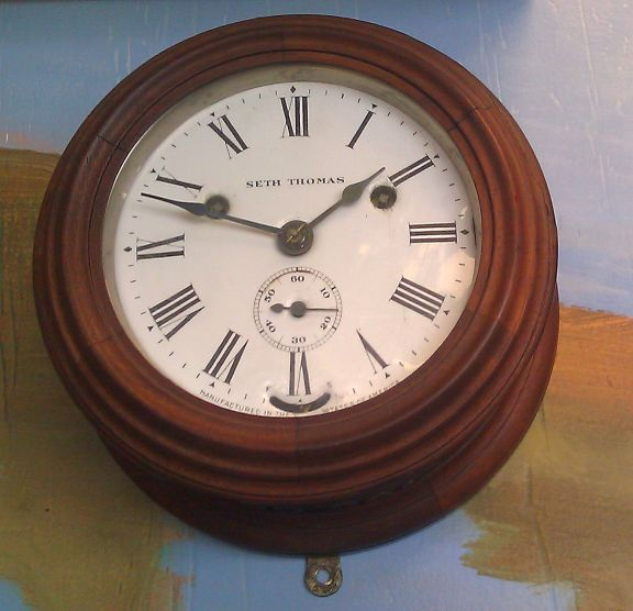 Seth Thomas Ships Bell Clock Wood Case With Enamel Dial
