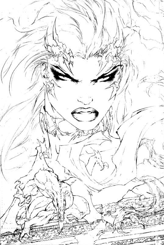 witchblade 1 sketch from back cover by turner witchblade and the The Darkness Legend witchblade 1 sketch from back cover by turner