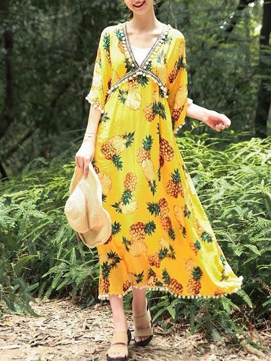 e0885770ed7 National V-Neck Loose Flared Sleeves Bohemia Dresses – modiboho