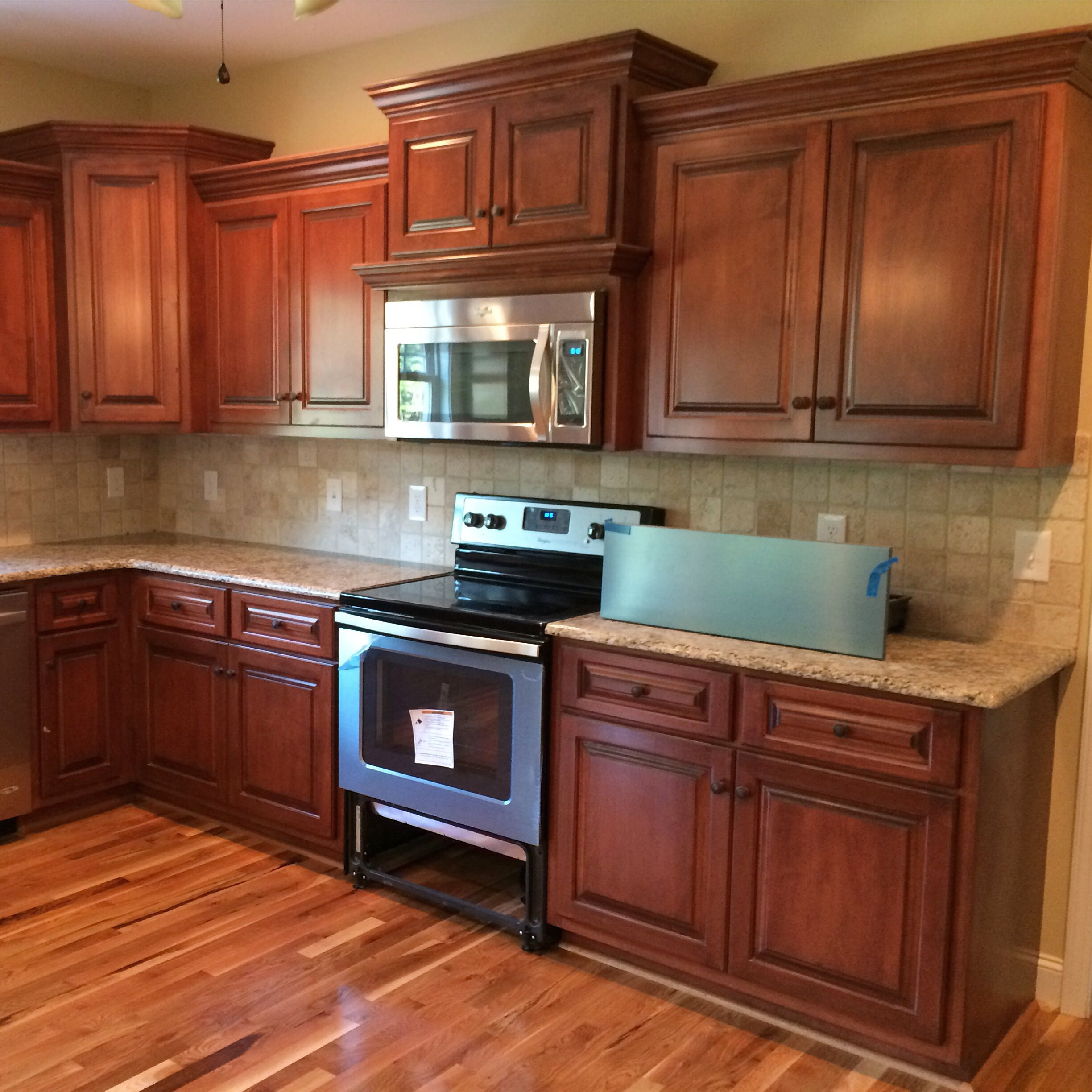 Dark Stained Maple Kitchen Cabinets: Cinnamon Stain With Black Glaze On Maple