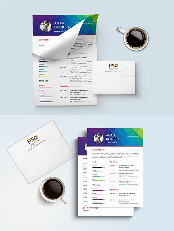 Free Resume \ Cover Letter Template #CV #Resume #PSD #Templates - free resume and cover letter template
