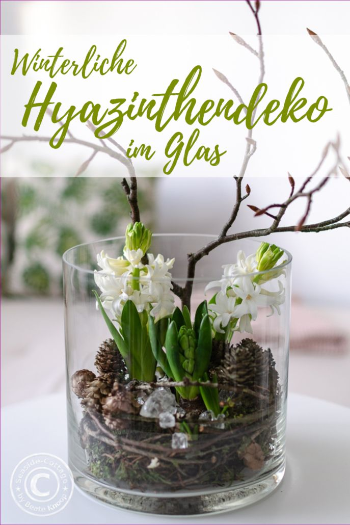 Photo of Winter glass hyacinths decorated with cones, twigs and broken glass