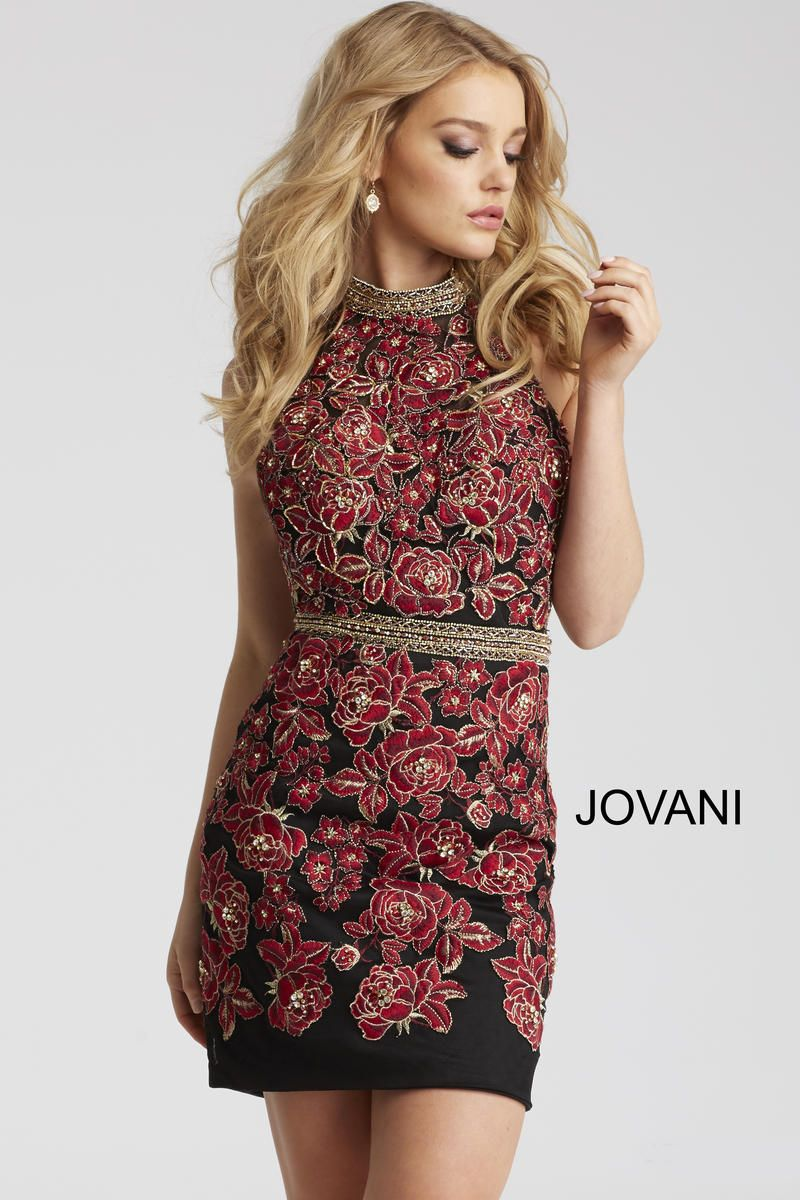 Style from jovani is an embellished high neck halter cocktail