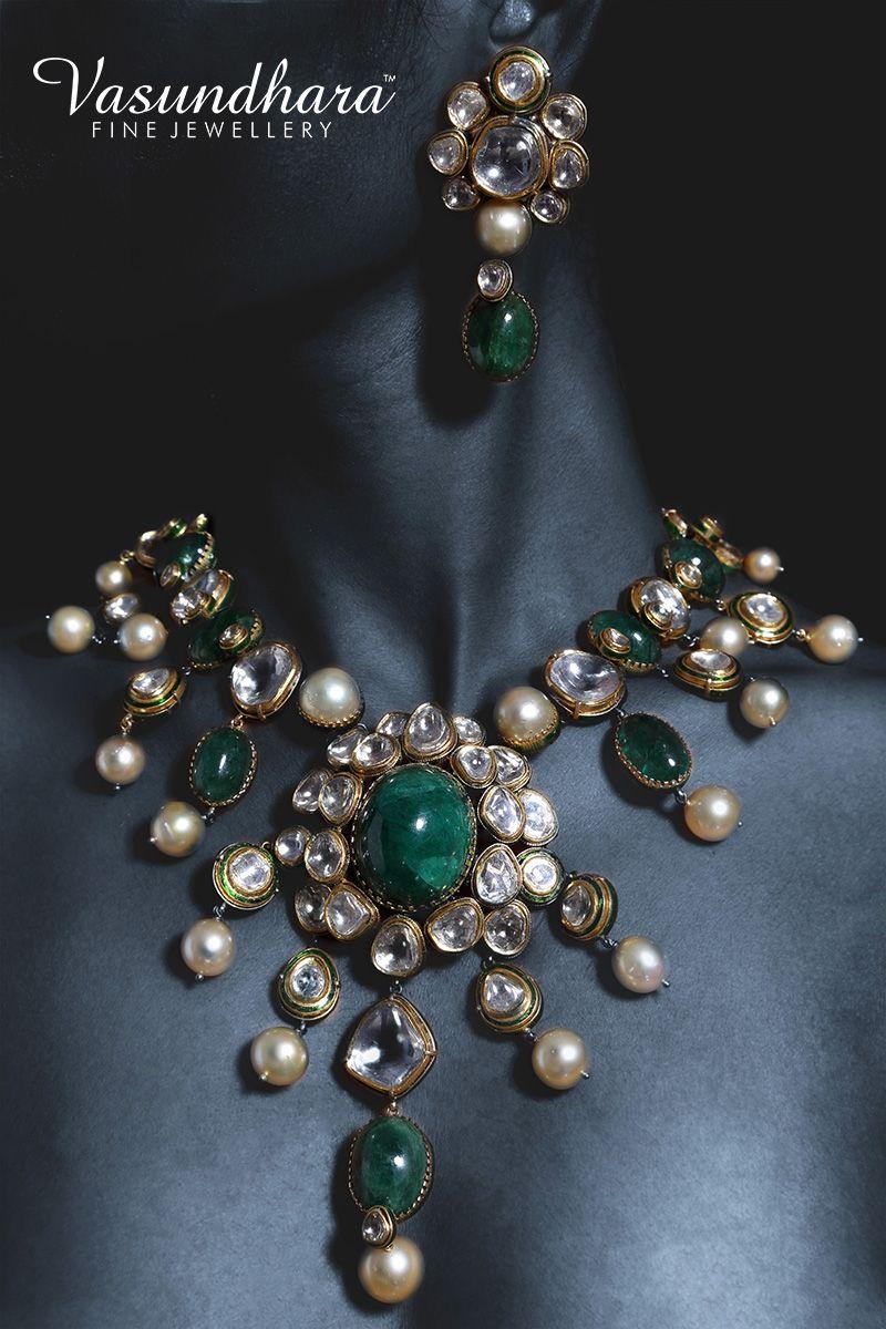 Gorgeous gold u jadau jewellery set beautifully designed by vfj