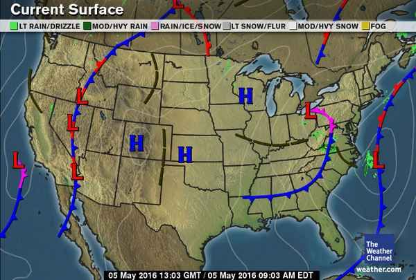 Current Us Surface Weather Map Weather Pinterest Weather The