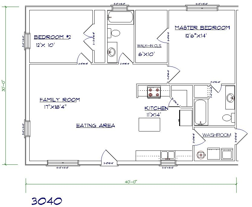 Barndominium and shop floor plans 30x40 click image to 30x40 house plans
