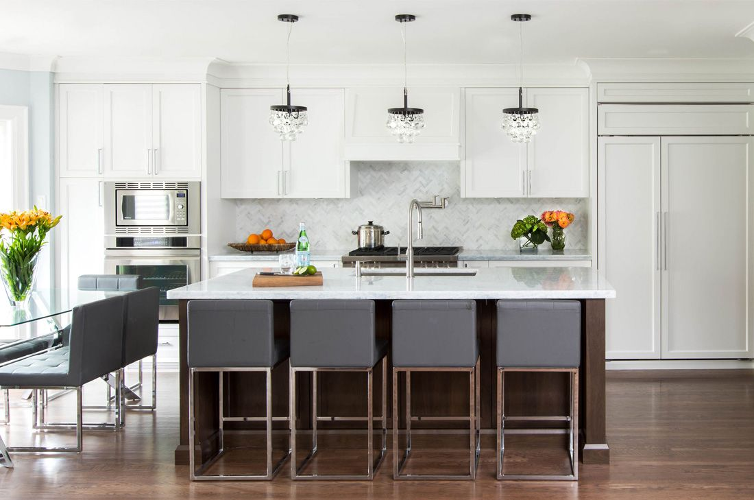 contemporary white kitchen, stained wood island, sleek gray and ...