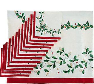 Lenox Holiday 60 X 140 Water Repel Tablecloth W 12 Napkins
