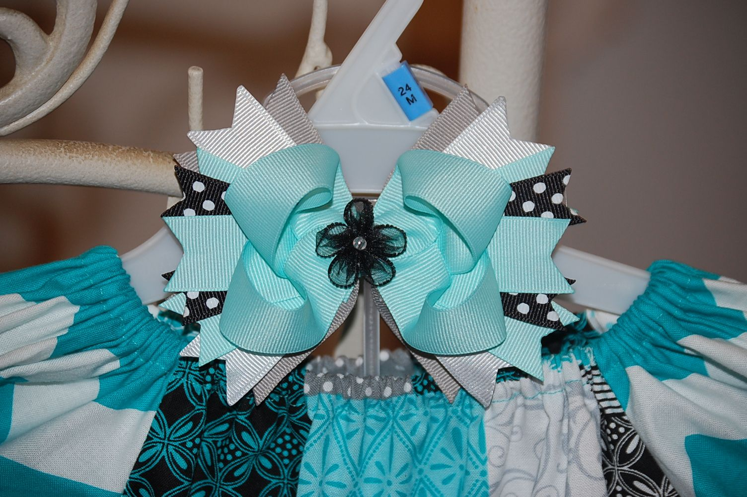 Matching bow for Blue Chevron ruffle pants and Peasant shirt set