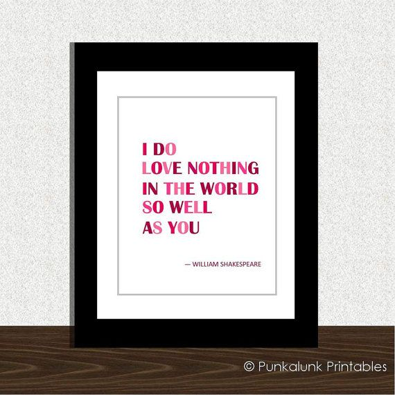 Love You Print Shakespeare Love Romantic Art Valentine S Day