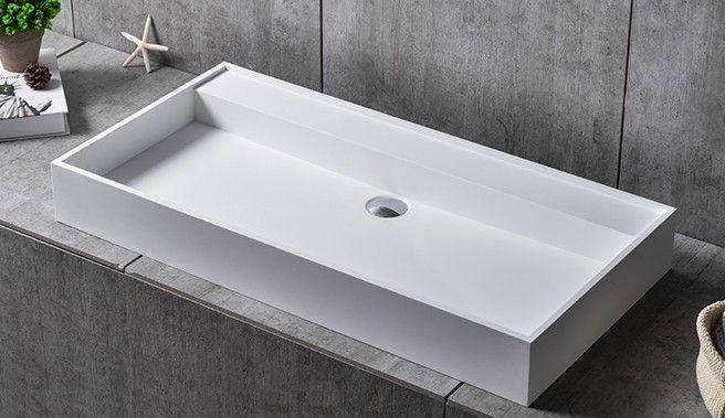 Wandwaschbecken Aufsatzwaschbecken TWG12 Aus Mineralguss Pure Acrylic   90  X 45 X 11 Cm Badewelt Waschbecken