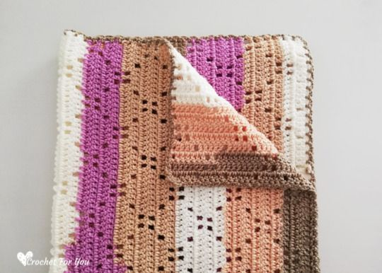 Ribbon Cake Crochet Blanket Free Pattern #filetcrochet