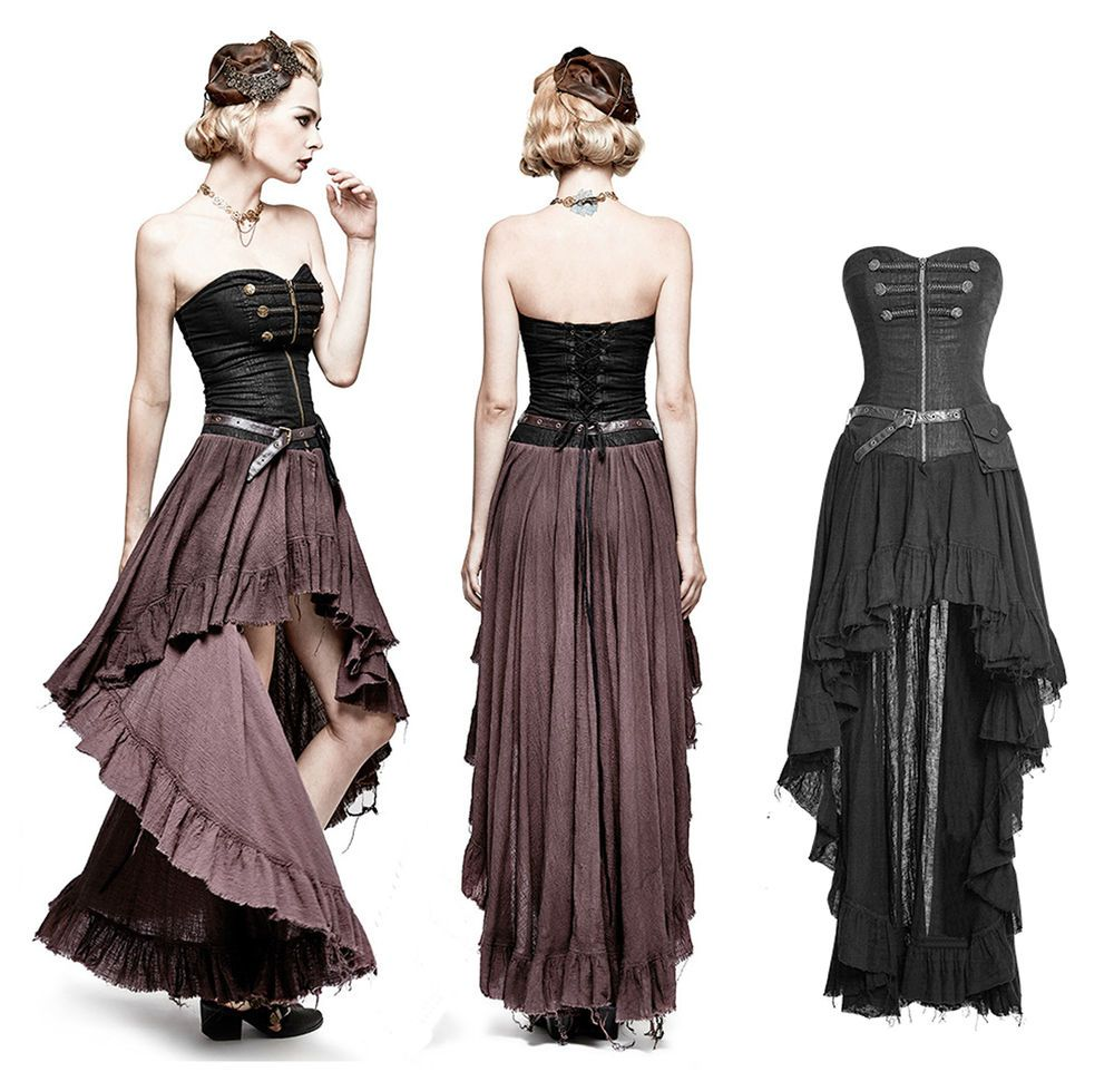 Details zu Punk Rave Steampunk Gothic Kleid Dress Military Korsett ...