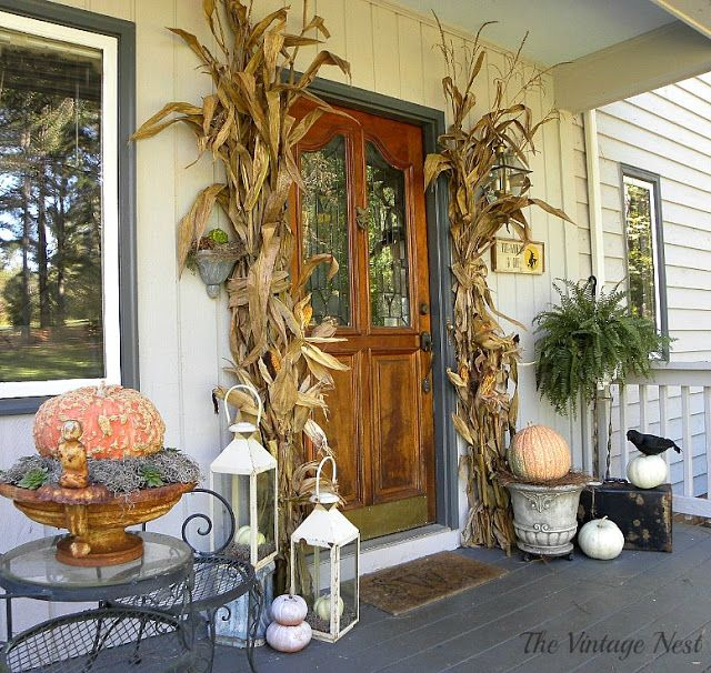 The Vintage Nest Fall Gardens and Porches Pinterest Nest, Fall - decorating front porch for halloween