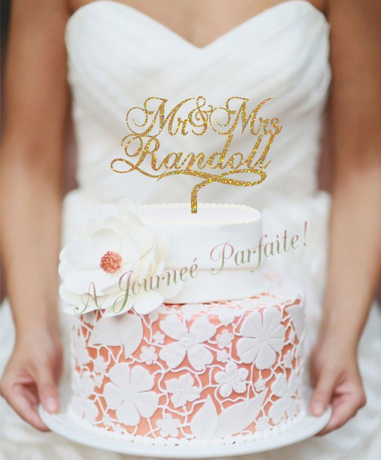Mr u mrs wedding cake topper personalized with name custom topper