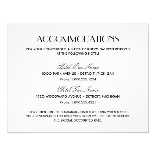 Wedding Accommodation Card