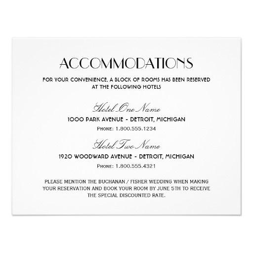 Wedding Accommodation Card | Art Deco Style | Future ...