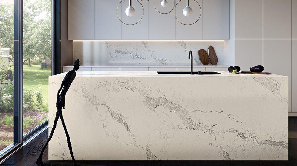 White Caesarstone Kitchen Countertops Part - 30: Kitchen Backsplash