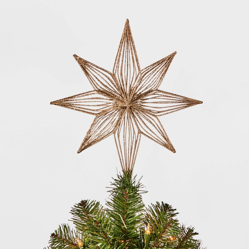 12in Unlit Glittered Bethlehem Star Tree Topper Gold - Wondershop -   18 christmas tree topper diy star ideas