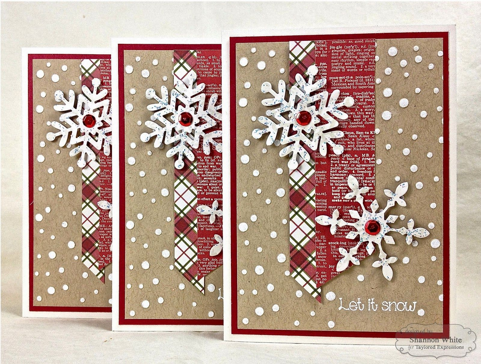 Enchanted Ladybug Creations: Let It Snow - Taylored Expressions Colored Dry Embossing! 8-)