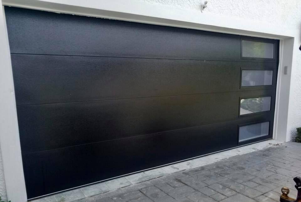 Modern Steel Modern Flush Black Garage Door Garage Doors Residential Garage Doors Black Garage Doors