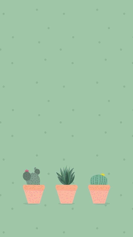 Pin Oleh Kayla Van Der Heever Di Oboi Poster Bunga Kertas Dinding Lukisan Kaktus Aesthetic cute cartoon cactus wallpaper