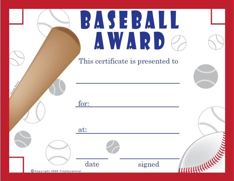 Printable Baseball Certificates