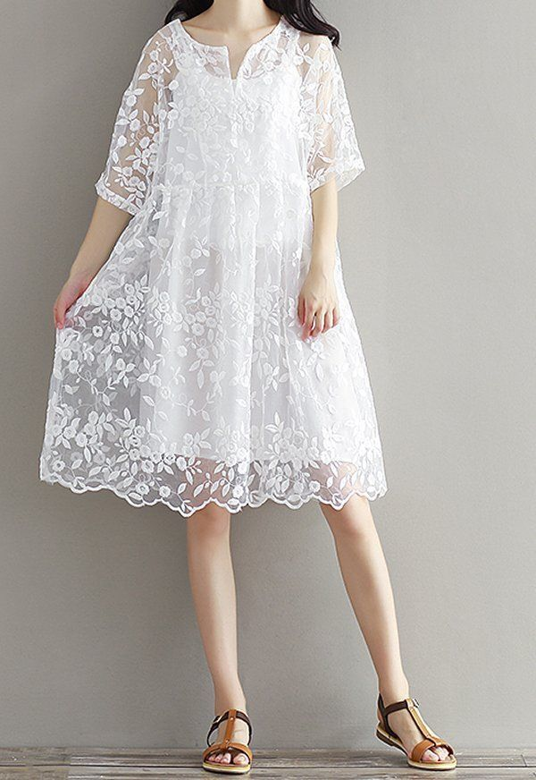 Women Loose Fit White Lace Flower Dress Sling 2 Pieces Short