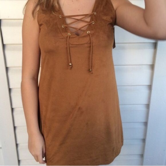 NWT 3 bird nest brown lace up suede sleeveless NWT Three Bird Nest brown suede lace shift dress extremely soft and adorable! Perfect for layering in the winter with over the knee boots or in the summer! Runs slightly small! SIZES AVAILABLE: small, medium, large Three Bird Nest Dresses Mini