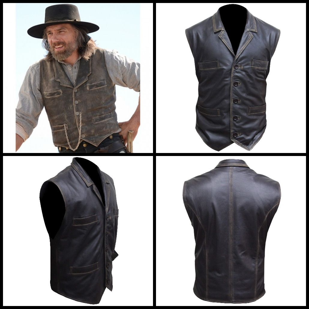 Men/'s Hell on Wheels Celebrities Looks Cullen Bohannan Real Leather Vest
