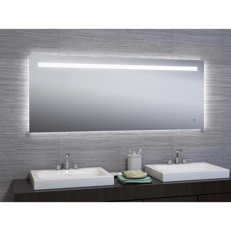 Naia Modern Contemporary Beveled Lighted Mirror Bathroom Vanity Mirror Budget Bathroom Remodel Bathrooms Remodel