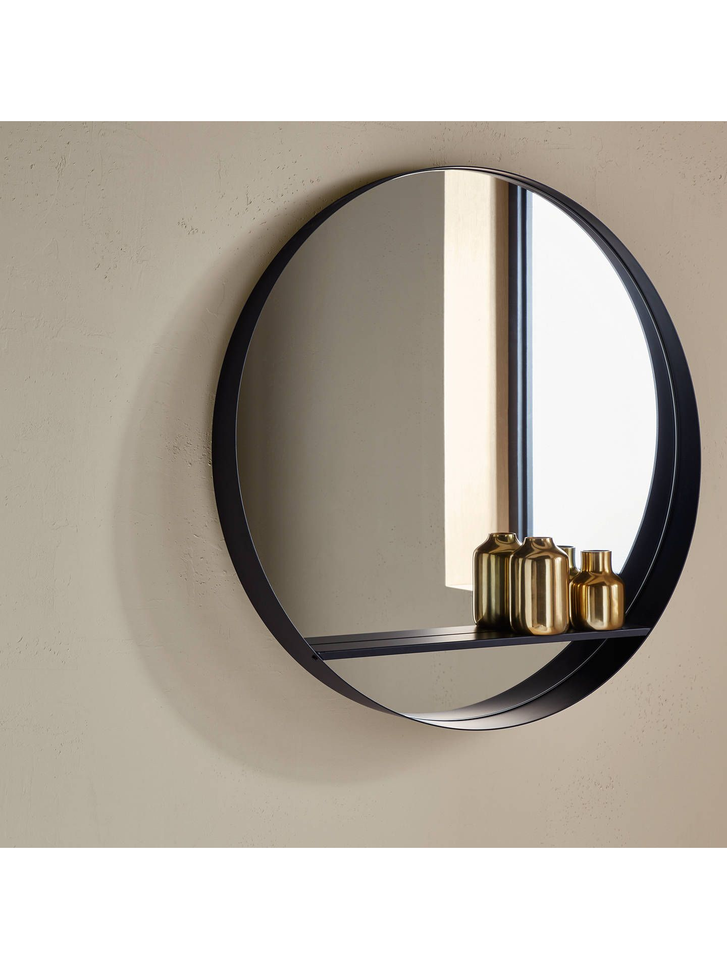 Design Project By John Lewis No 120 Circle Mirror With Shelf Dia 82 5cm Black Circle Mirror Mirror With Shelf Black Mirror Frame
