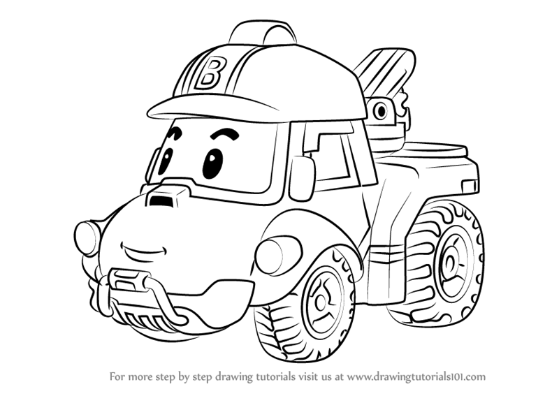 Learn How To Draw Bucky From Robocar Poli Robocar Poli Step By Step Drawing Tutorials En 2020 Coloriage Pat Patrouille Idee Couture Coloriage