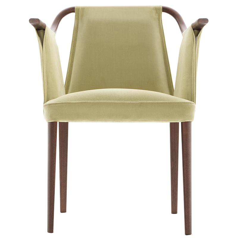 sayo 21 in green sandler seating upholstered armchair on beech wood frame - Wood Frame Armchair