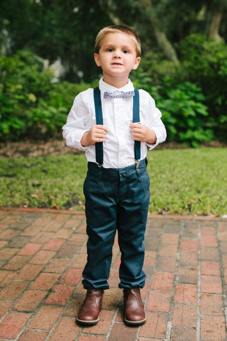 Ring Bearer in Navy Pants and Suspenders Photo Millie Holloman