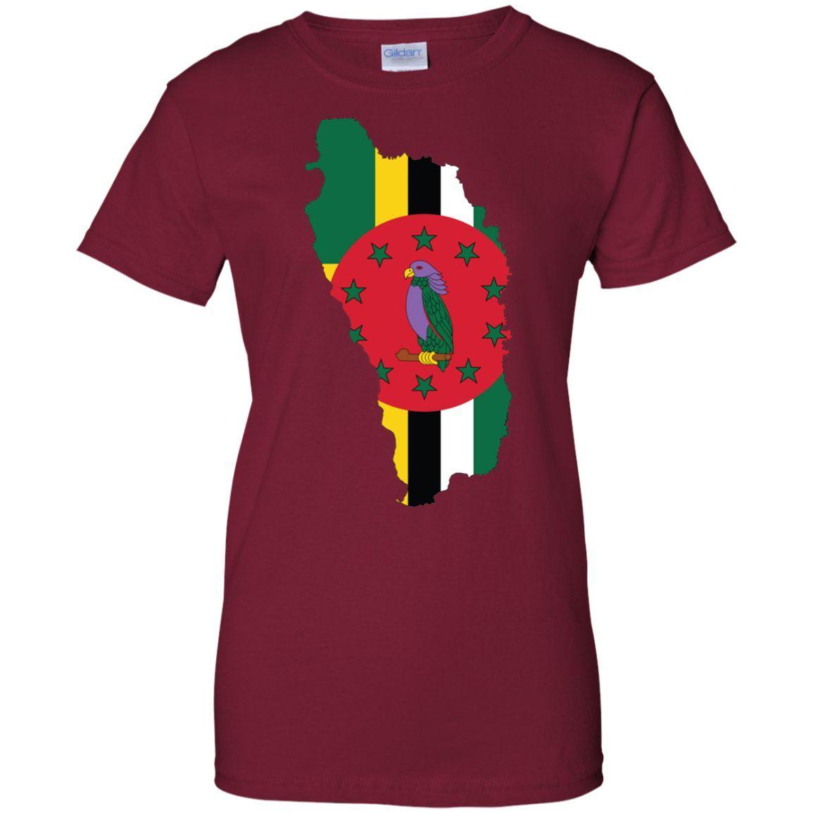 Dominica flag -01 Ladies Custom 100% Cotton T-Shirt