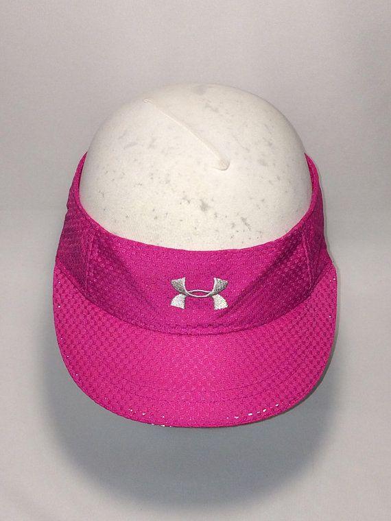 6b5e33d5581db Vintage Under Armour Sun Visor Hat Pink Gray Reflective Running Baseball Cap  Visors For Women Cool O