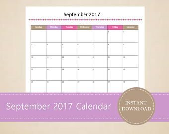 Printable September  Calendar  Seasonal Monthly Calendar