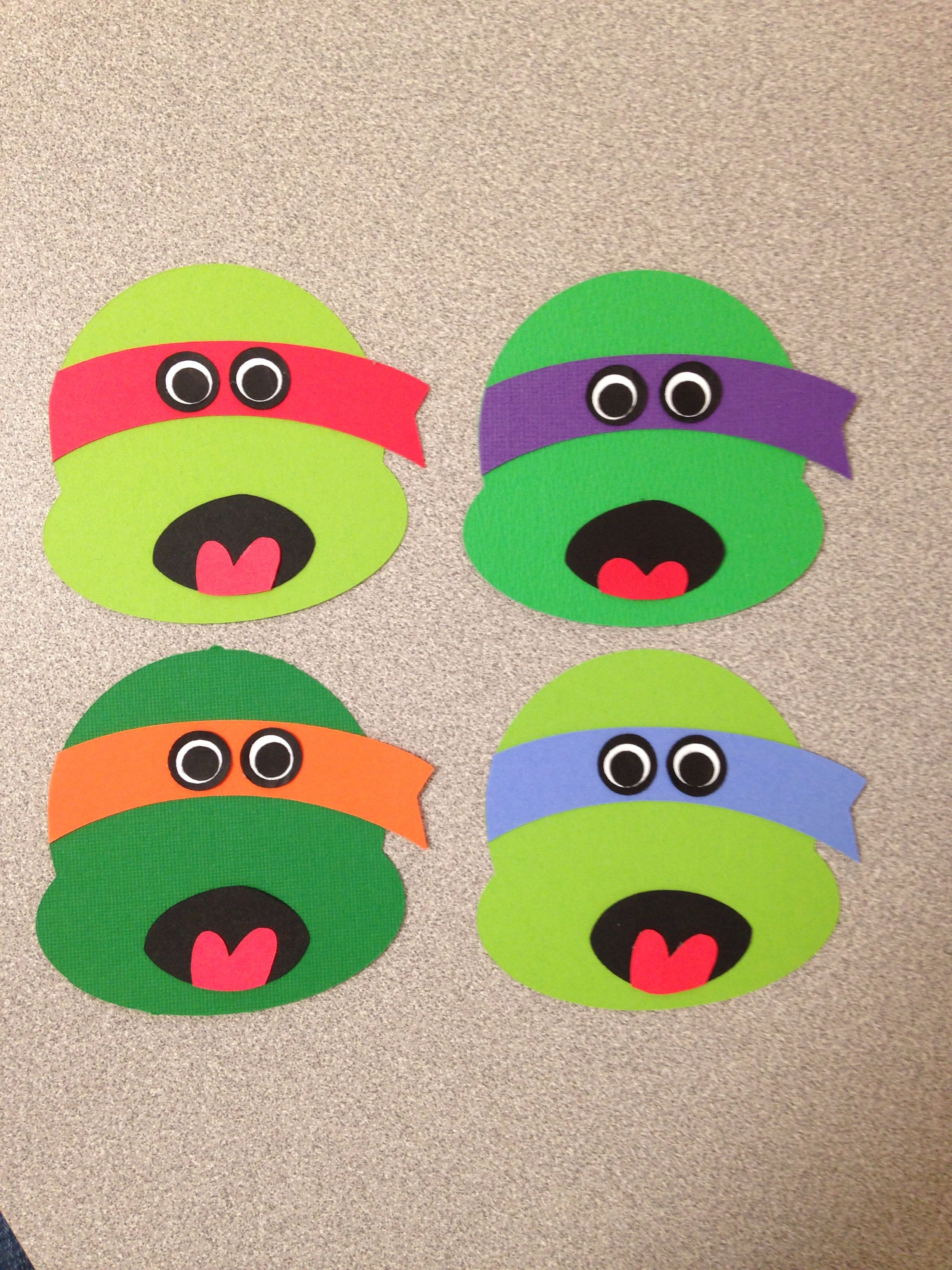 Teenage Mutant Ninja Turtle Valentines Made Using The Cricut Machine Just Planning To Attach To