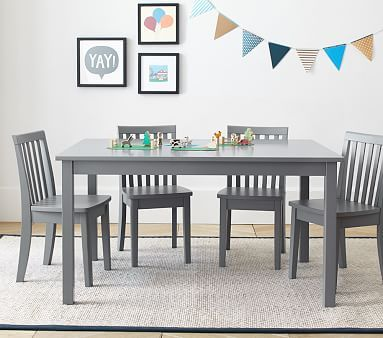 Carolina Large Table & 4 Chairs Set, Charcoal Table, 4 Simply ...