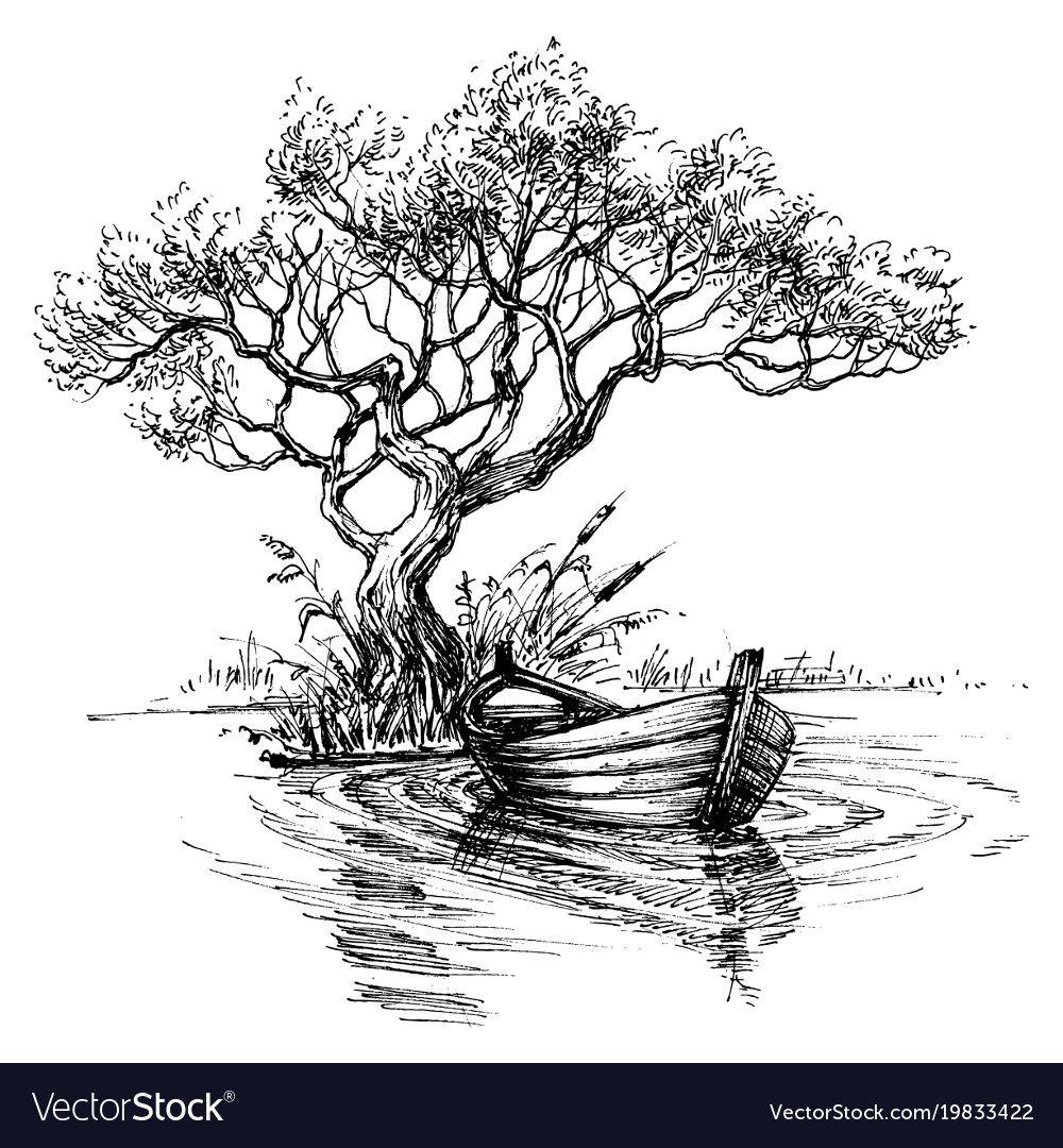 Boat on water under tree sketch wallpaper vector i
