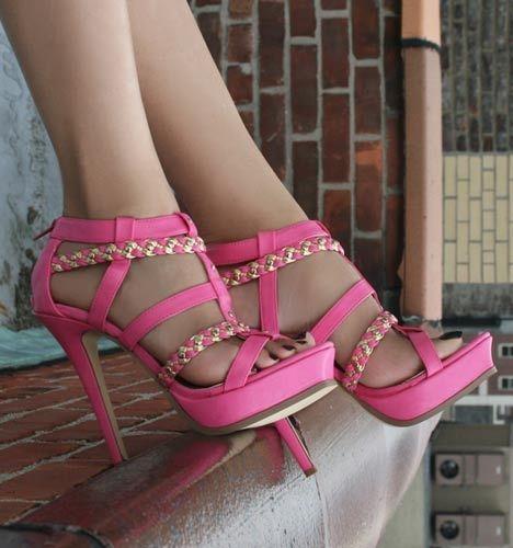 high decoration heels Pink with gold PwyqdAdBR