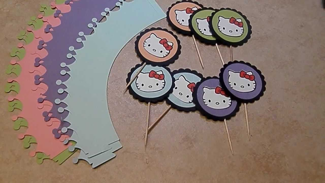 DIY - HELLO KITTY BDAY ~ CUPCAKE WRAPPERS/TOPPERS
