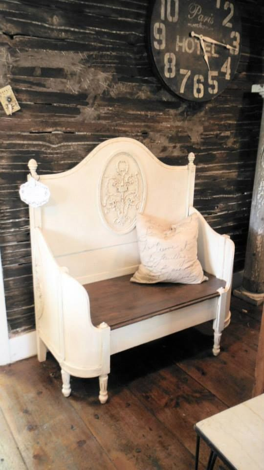Antique Bed repurposed into bench - nice French Paris Chic style ...