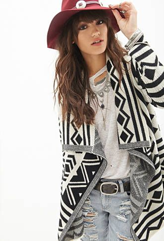 Geo-Patterned Shawl Cardigan | FOREVER 21 - 2000083598