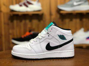52523ebfb751 Womens Air Jordan 1 Mid GS Hyper Jade White Black 554725 122 Running Shoes