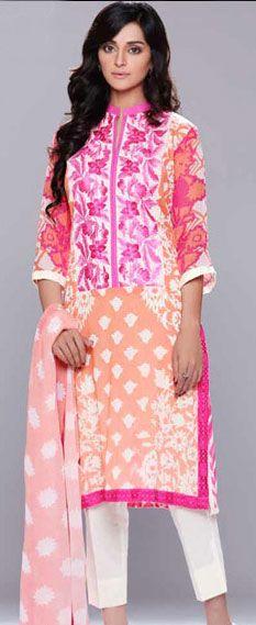 Buy Light Peach/White Cotton Lawn Dress by Charizma 2015.